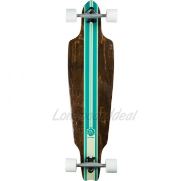 "Saterno Mint Multi Stripe 38"" drop-through longboard complete"