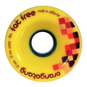 Orangatang Fat Free 65mm 86a Yellow longboard wheels
