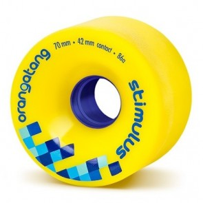 Orangatang Stimulus 70mm 86a Yellow longboard wheels