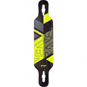 "Raven Geo Yellow 41"" drop-through longboard deck"
