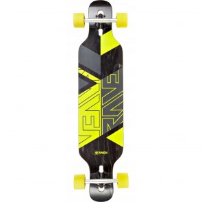 "Raven Geo Yellow 41"" drop-through longboard complete"